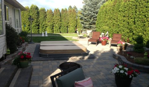 paver patio with hot tub